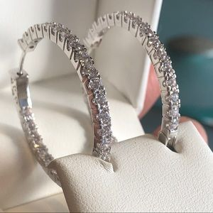 Silver Big Hoops Earring cz stone
